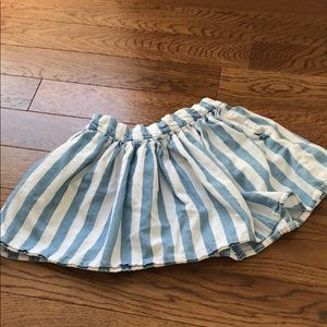 Zara girls blue and white striped skirt 5/6